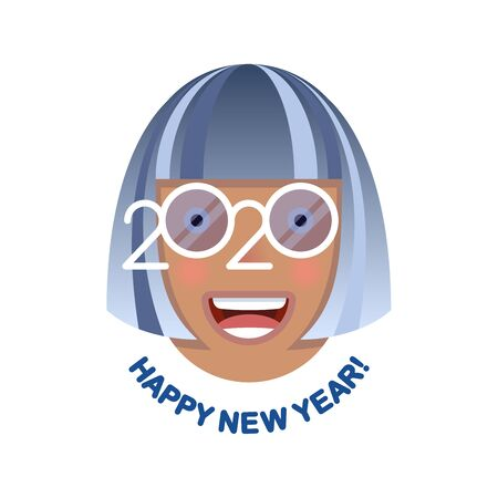 Cheerful smiling gray-haired woman in blue glasses - a symbol of the upcoming 2020. Happy new year! Banner for seasonal holidays flyers, greetings, invitations and cards.
