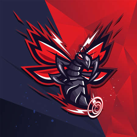 Bee strikes mascot esport vector logo design. Ilustracja