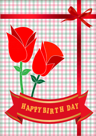 birth day: Happy birth day card with rose flower Illustration