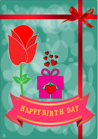 happy birth day: Happy birth day card with rose flower Illustration