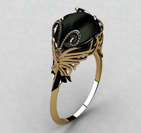 zafiro: Anillo con Diamante Negro Foto de archivo