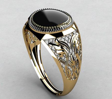 diamante negro: Anillo con Diamante Negro Foto de archivo
