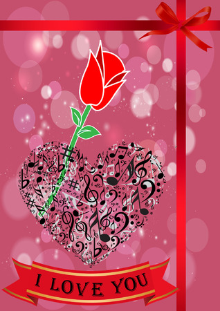Romantic Valentine Greeting with Heart and red rose Illustration