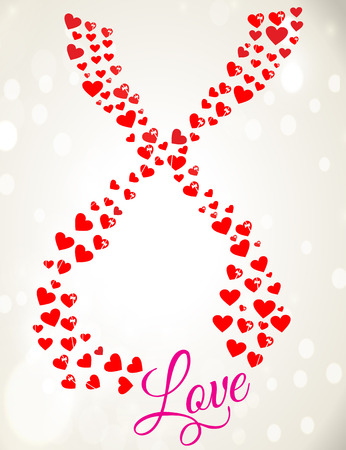 Romantic Valentine Greeting with Hearts Illustration