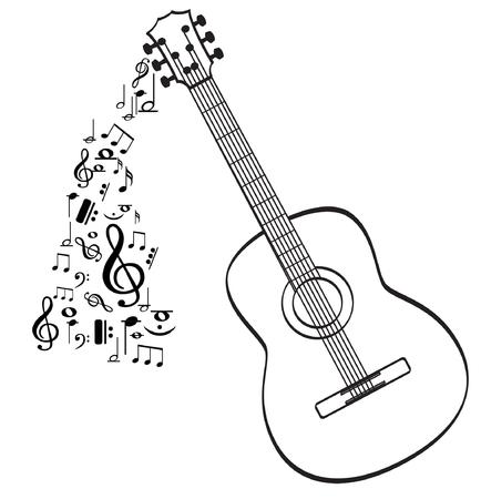 Gitaar muziekinstrument vector in zwarte omtrek Stockfoto - 91703181