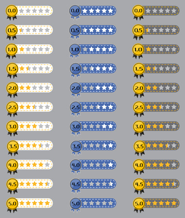 Star review rating icon collection with stars.