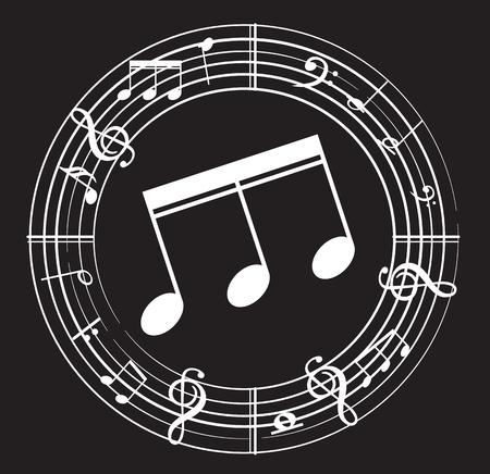 Music note with music symbols Иллюстрация