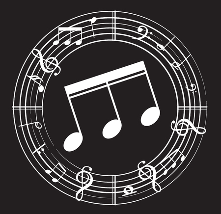 Music note with music symbols Illustration