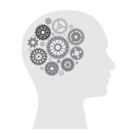 Human brain with wheel collection Vector illustration.