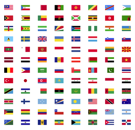 World flags icon collection flat set Vettoriali