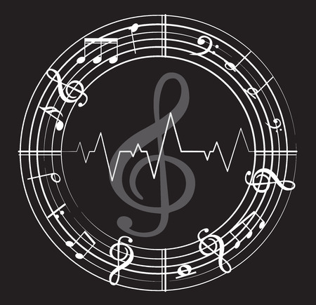 Music Note with different music Symbols Vector illustration.