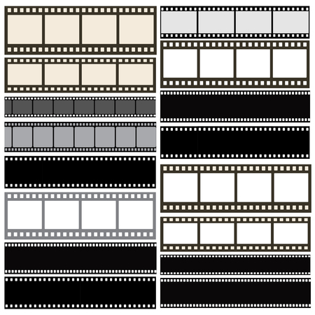 Various film strip background collection with film roll lines