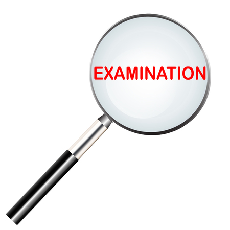 Examination highlighted in magnifier tool icon