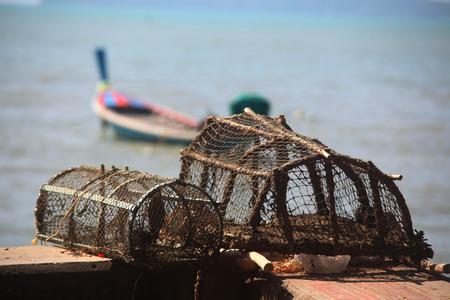holed: Fish trap device of Famer Stock Photo