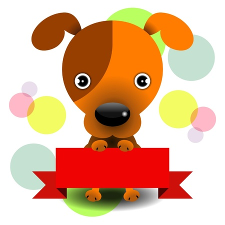 dog holding a red banner in colourful background Illustration