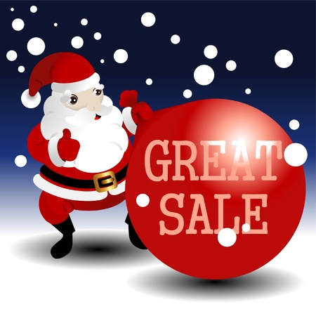 Christmas sale card with Santa Illustration