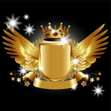 király: Heraldikai elemek szárnyak és szalagok tervezés