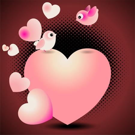 Love Birds Valentine Greeting Card  Illustration