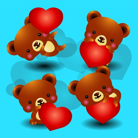 Valentine Bears  Vector