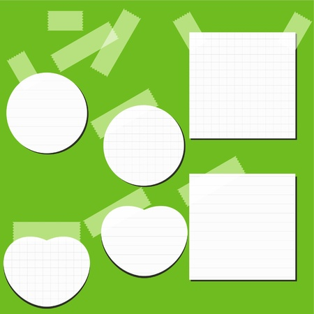 checkered label: Set of paper stickers with tape