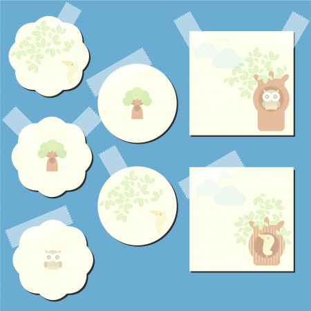Set of the paper notes with decorative elements, bird, owl and tree