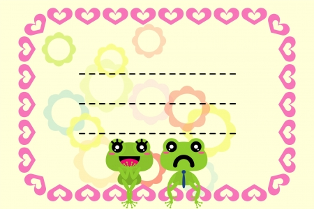 love pink hearts border frame with a couple of frog
