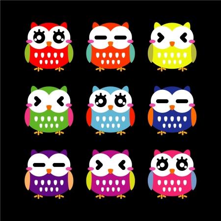 Cute owls set  Ilustrace
