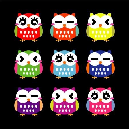 Cute owls set  Illustration