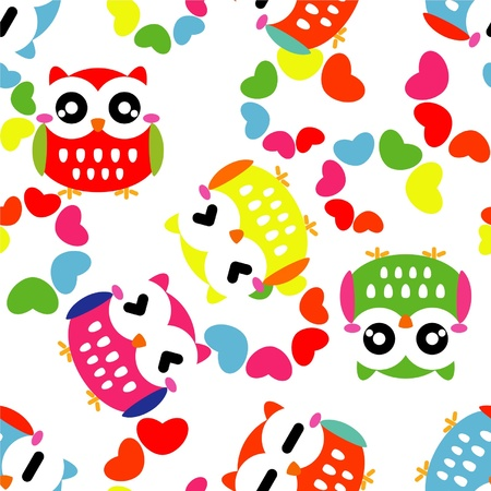 Seamless pattern with colorful owls Stock Vector - 14925941
