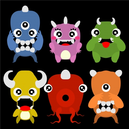 A set of cute cartoon monsters