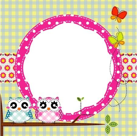 Frame of cute owls on branch  Illustration