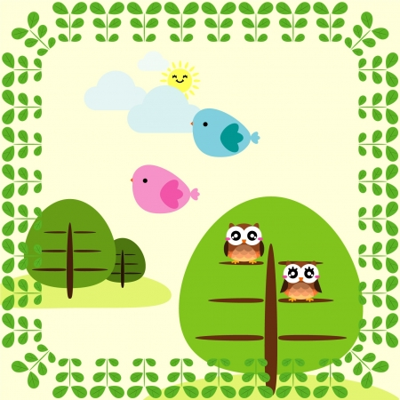 background with trees and birds Illustration