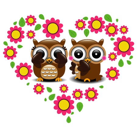 Couple of owls in love  Ilustrace