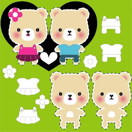 teddy bear couple with different clothes Vector