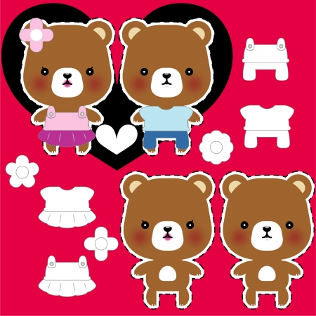 teddy bear couple with different clothes