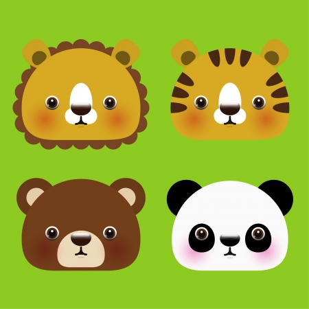 illustration of animal head icons  Vector