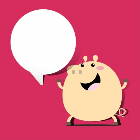 Illustrator of pork with speech bubble