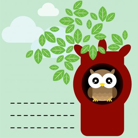 Owl in tree Stock Vector - 18348527