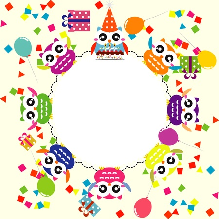 Birthday party card with funny owls Vector