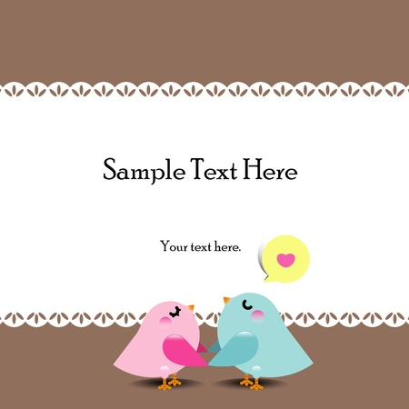 Pareja de aves en el amor - ilustración vectorial