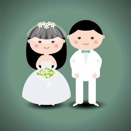結婚式のカップルのベクトル イラスト
