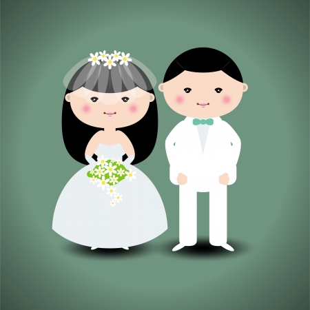 bridegroom: Vector illustration of wedding couple Illustration