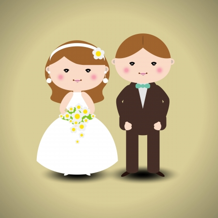 Vector illustration of wedding couple Illustration