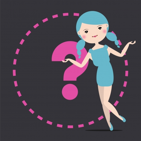 Fashion girl with hand empty to show off a product or introduce something  Illustration