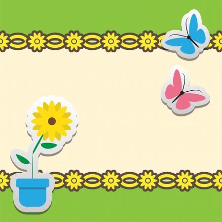 蝶と花のフレーム