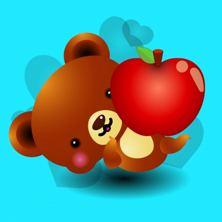 Apple teddy bear Vector