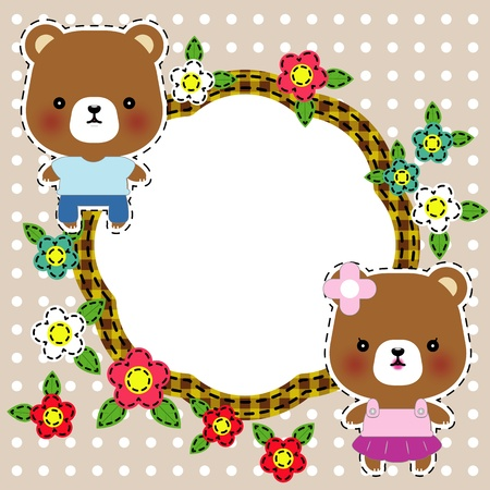 Cartoon illustration of sweet teddy bears