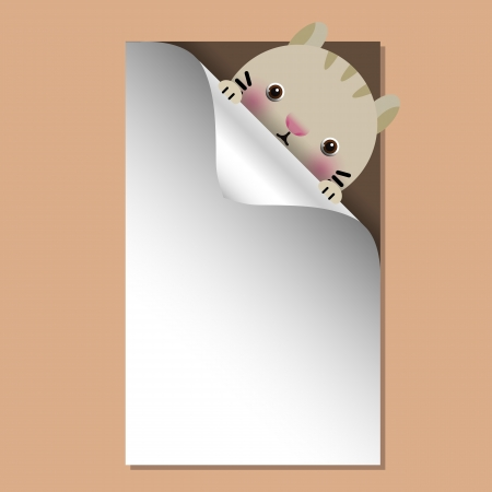 Vector illustration of baby cat with place for text Vector