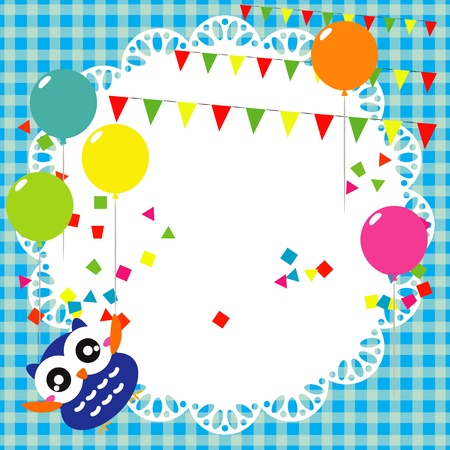 party streamers: Vector birthday party card with cute owl Illustration