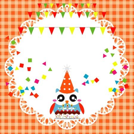 Vector birthday party card with cute owl Stock Vector - 19264607